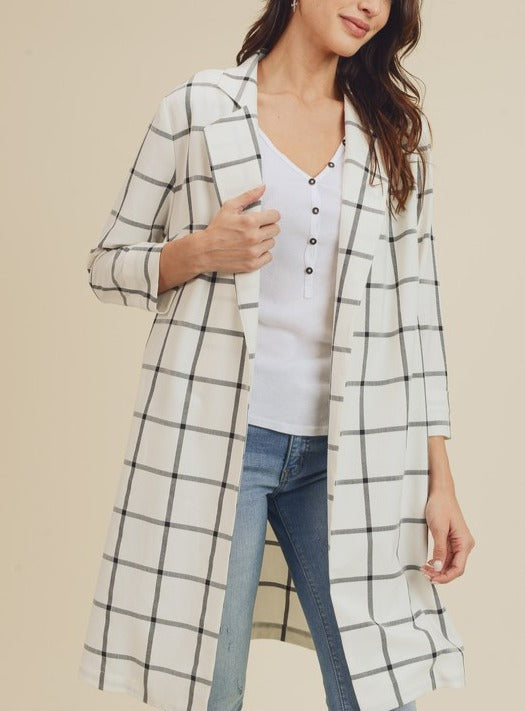 Yonkers Plaid Open Front Pocket Long Blazer