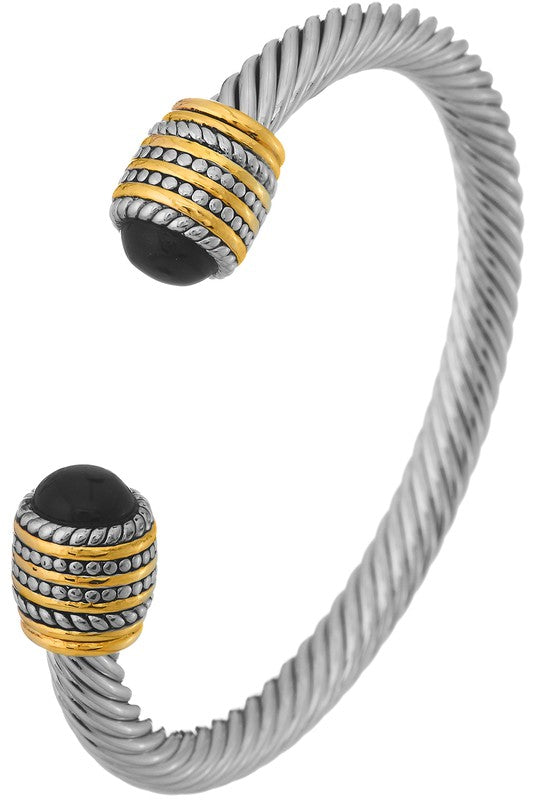 Triple Row Cable Cuff Bracelet // Black, Pearl or Turquoise