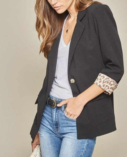 At it's Finest Leopard Lined Black Blazer
