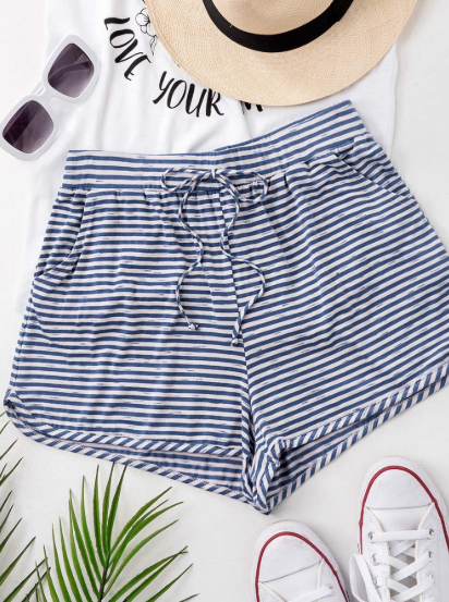 Blue // Summer Worthy Striped Drawstring Shorts