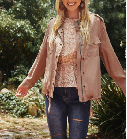 Jase Blush Drawstring Cargo Jacket