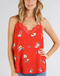 Be So Bright Red Floral Lace Trim Slip Cami