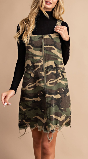 Too Cute to Handle Overall Zip Up Dress