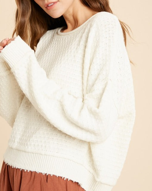 Cream // Sienna Textured Raw Hem Sweater