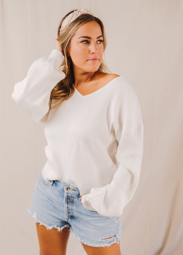 Charlotte Ivory Ribbed Sweater