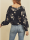 Dark Floral Surplice Drawstring Blouse