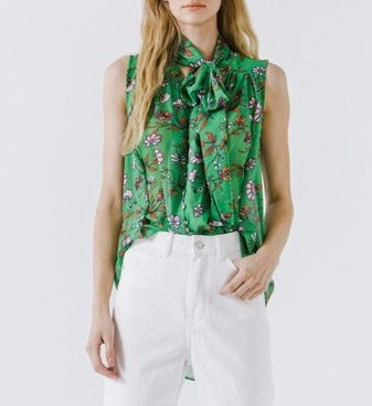 Idgie Green Floral Front Tie Blouse