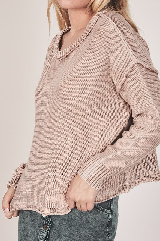 Dark Beige // Kane Vintage Brushed Sweater