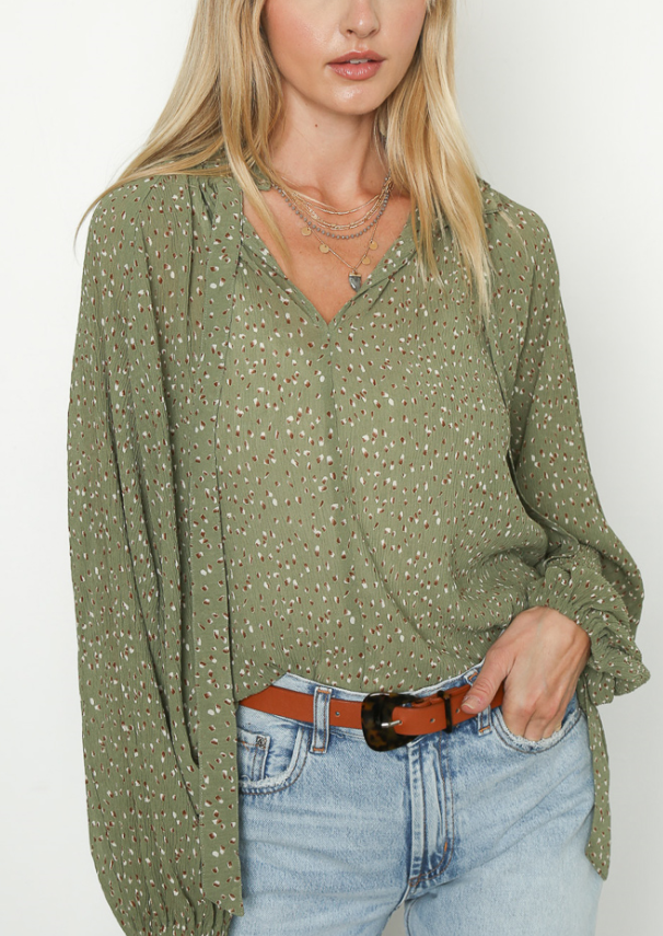 Diana Sage Balloon Sleeve Blouse