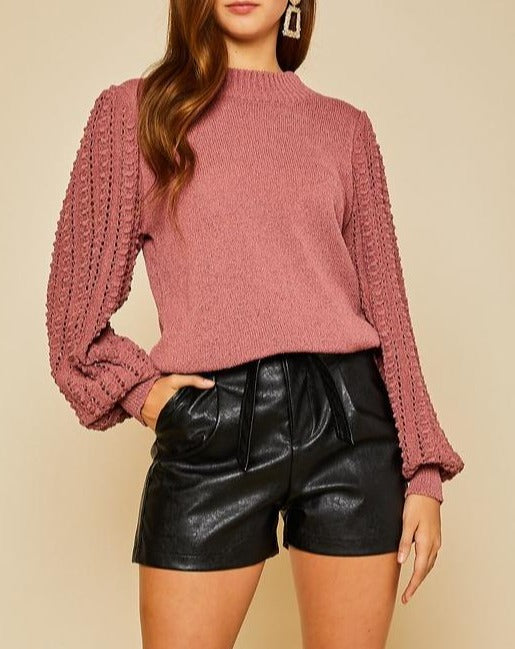 Always Inspired Rust Crochet Sleeve Sweater