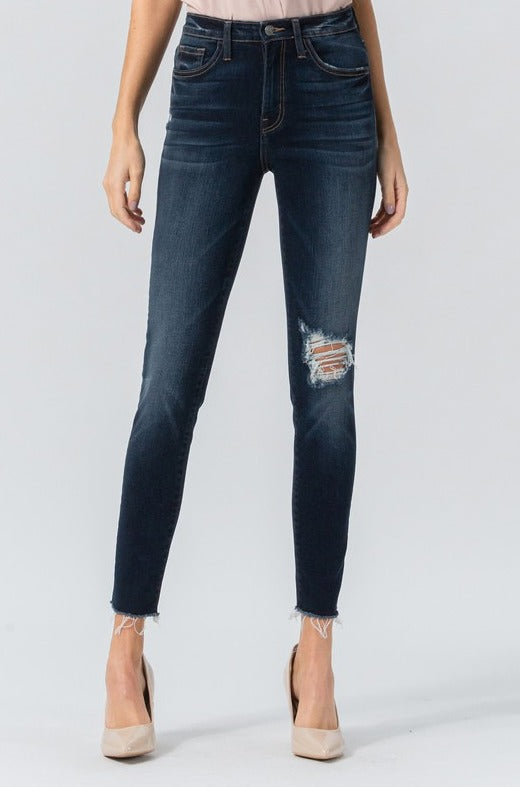 Hypnotized Super High Rise Raw Hem Crop Skinny