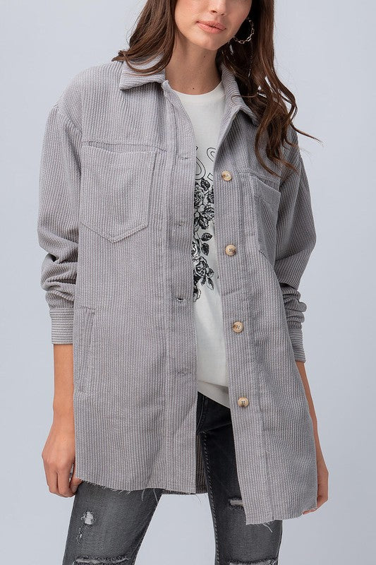 Coby Grey Corduroy Button Down Shacket