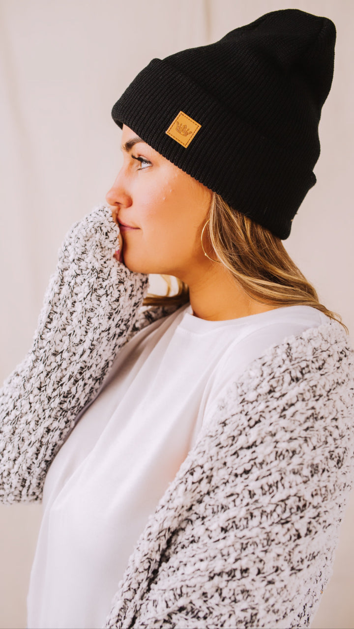 Black // Cat Nap Fleece Lined Beanie