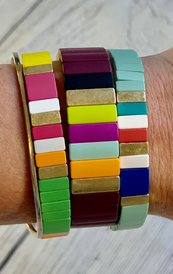Set of 3 Color Block Bracelet Stack - 4 COLOR OPTIONS