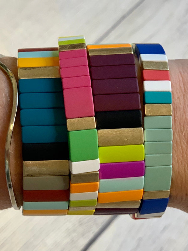 Set of 4 Color Block Bracelet Stack - 4 COLOR OPTIONS