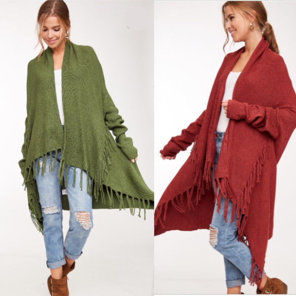 I've Got that Fringe Feeling Cardigan Sweater - 2 Colors