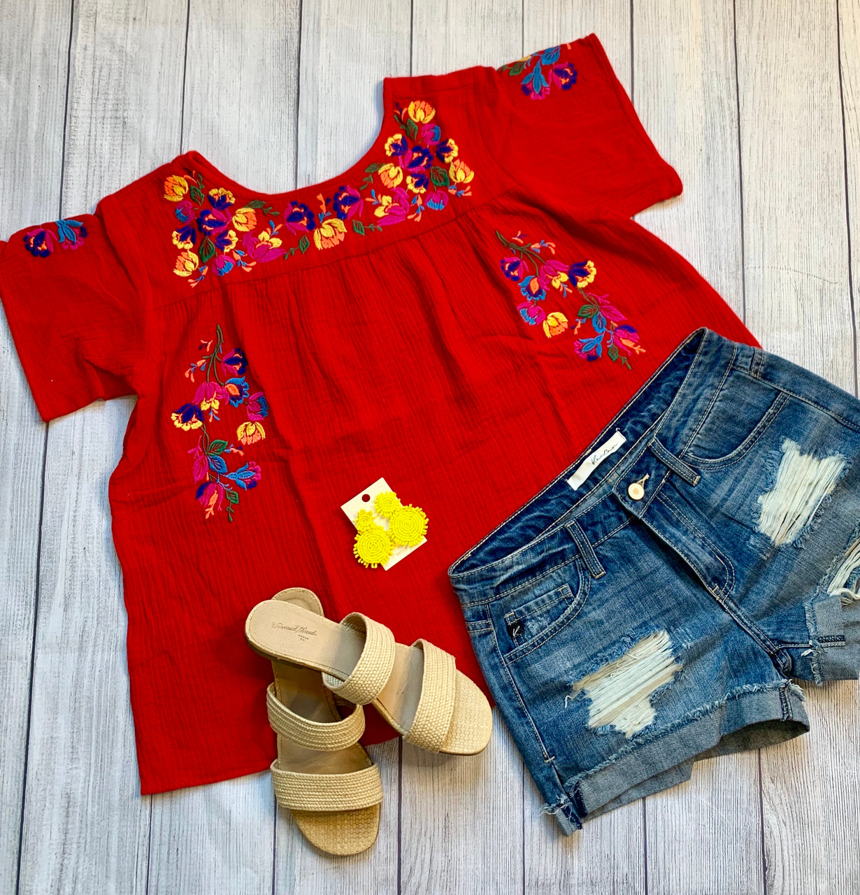 Isla Maria Embroidered Top -RED