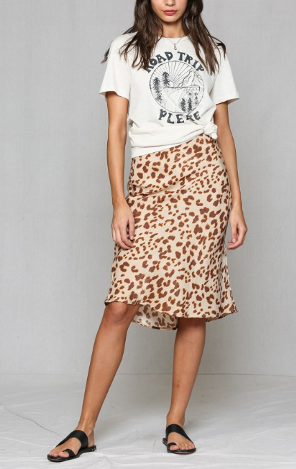 Thrill of the Chase Leopard Satin Midi Skirt