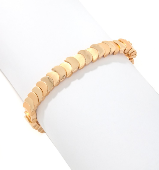 Gold Crescent Stretch Bracelet