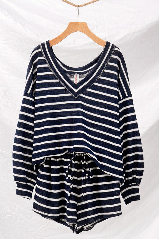 Sail Away with Me Stripe Navy Lounge Set