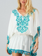 Poolside Embroidered Tassel Trim Cover Up - Teal