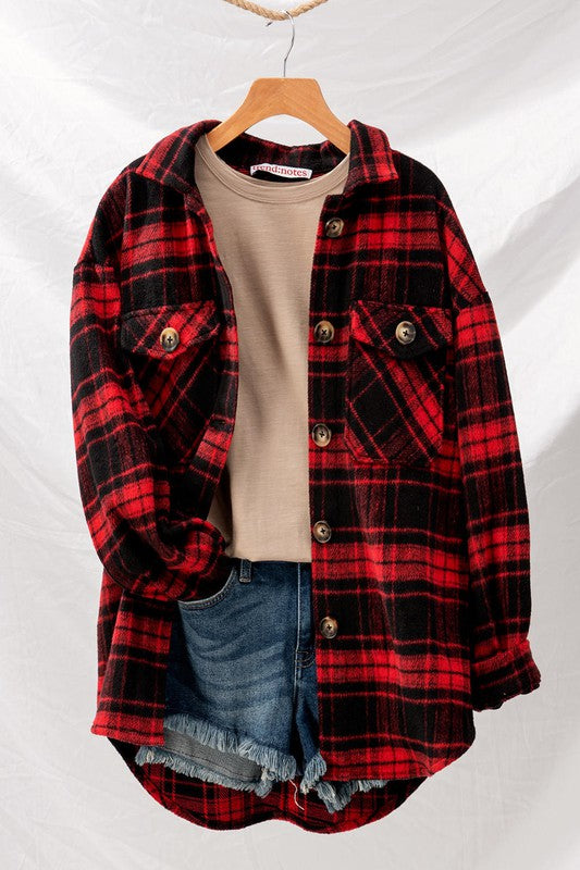 Buffalo Betty Red Oversized Button Down Jacket