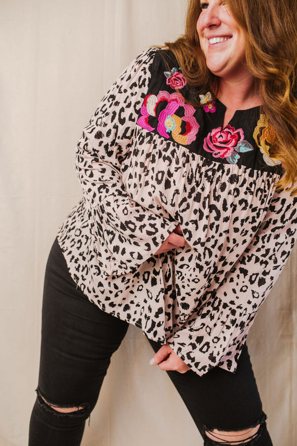 Rio Leopard & Floral Embroidery Blouse