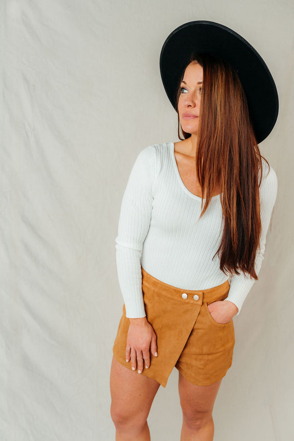 Claim to Fame Faux Suede Button Skort