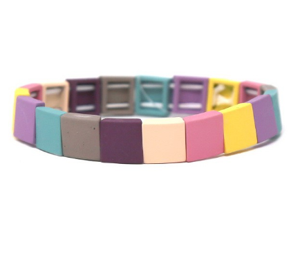 Small Color Block Multi Purple Stretch Bracelet