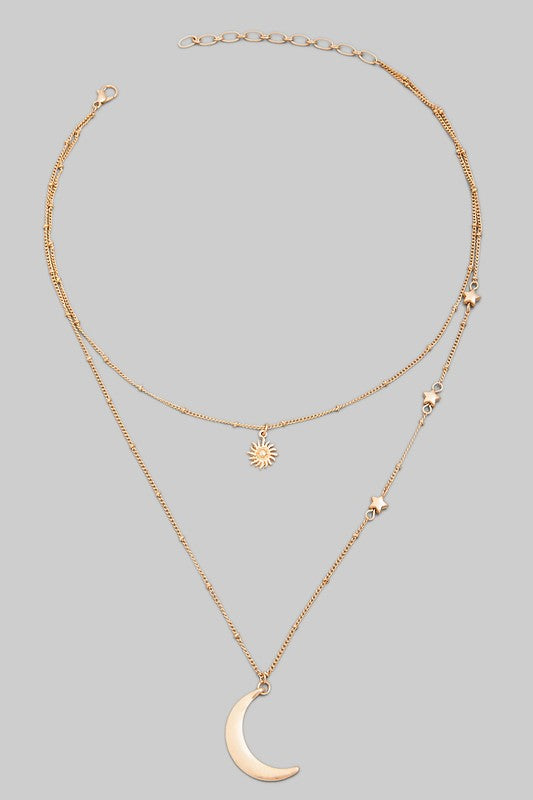 Dainty Layered Stars and Moon Pendant Necklace