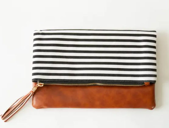 The Classic Black & White Striped Fold Over Clutch