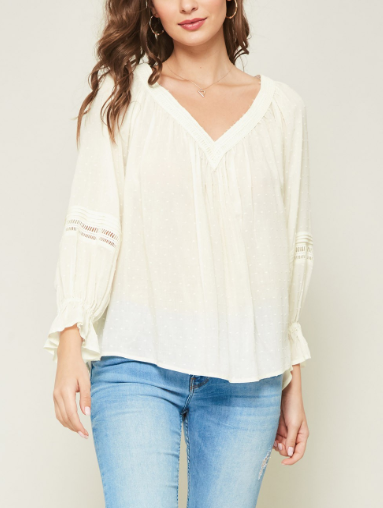 Miss Swiss Dot Crochet Lace-Trimmed Peasant Top - CREAM