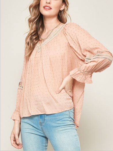 Swiss Dot Crochet Lace-Trimmed Peasant Top - DUSTY PINK