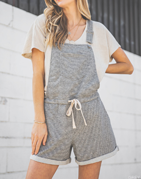 All Together Now Grey Striped Soft Overalls