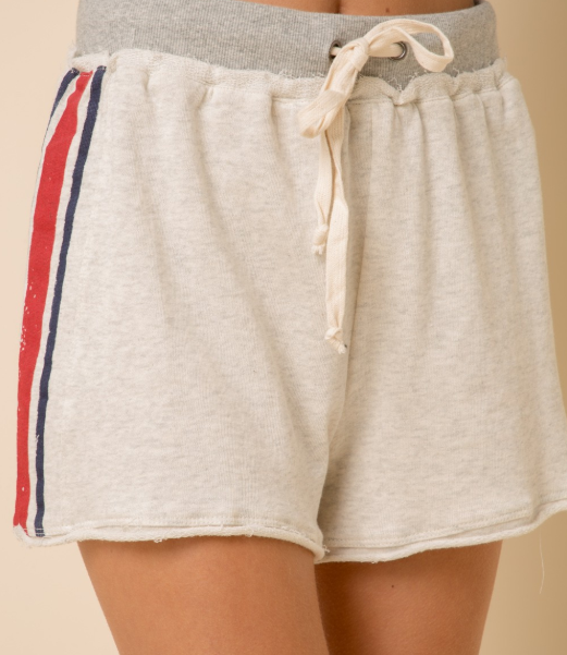 Sporty Spice Stripe French Terry Drawstring Shorts