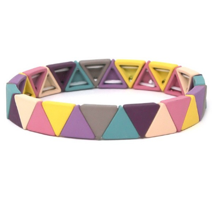 Triangle Color Block Stretch Bracelet - Pinks / Purples
