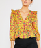 Water Color Yellow Floral Top