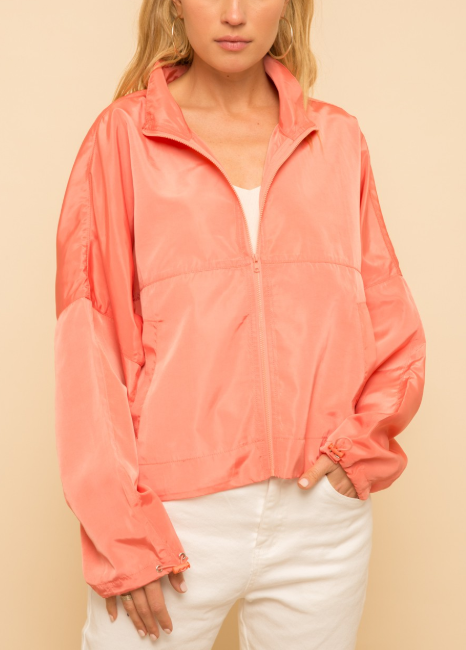 Bring on the Wind Neon Coral Windbreaker