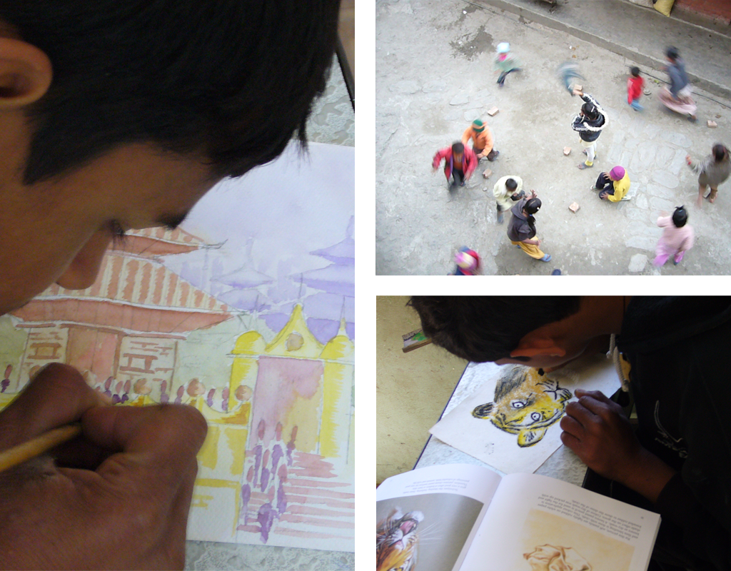 Andy Parkin teaches local children to draw in Nepal, as part of Community Action Nepal [CAN]