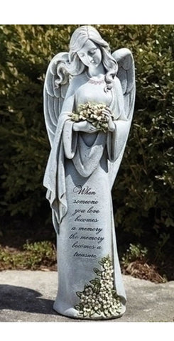 Praying angel with large wings garden or memorial statue