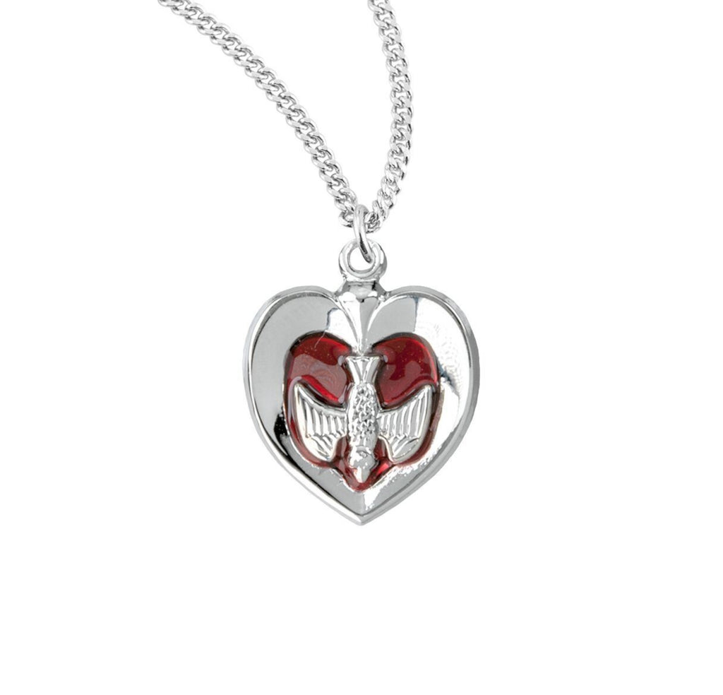 Holy spirit heart pendant on chain sterling silver