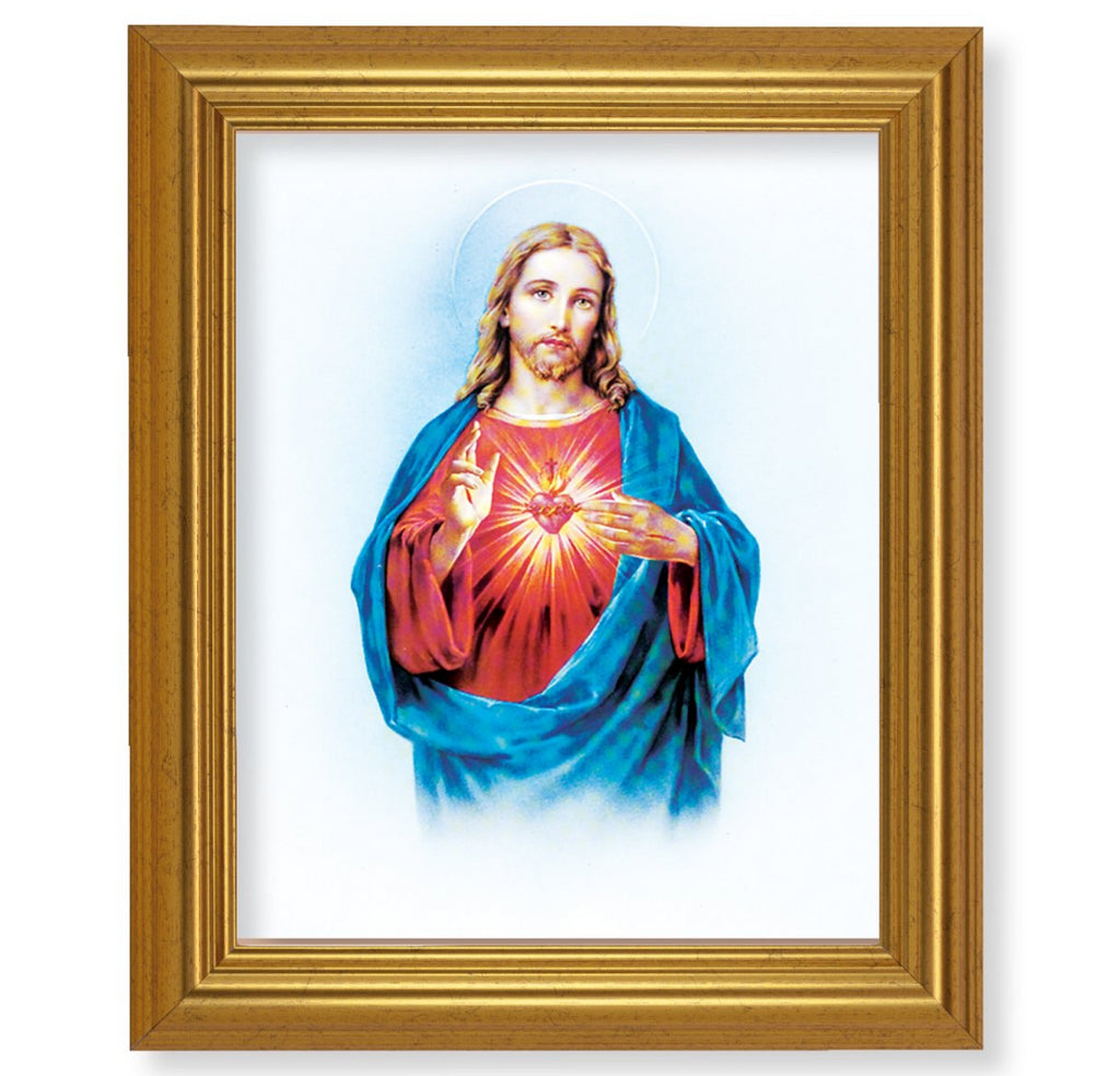 Traditional Sacred Heart Of Jesus Print In Gold Beveled Frame