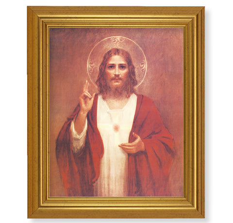 Sacred Heart Of Jesus Print In Gold Beveled Frame