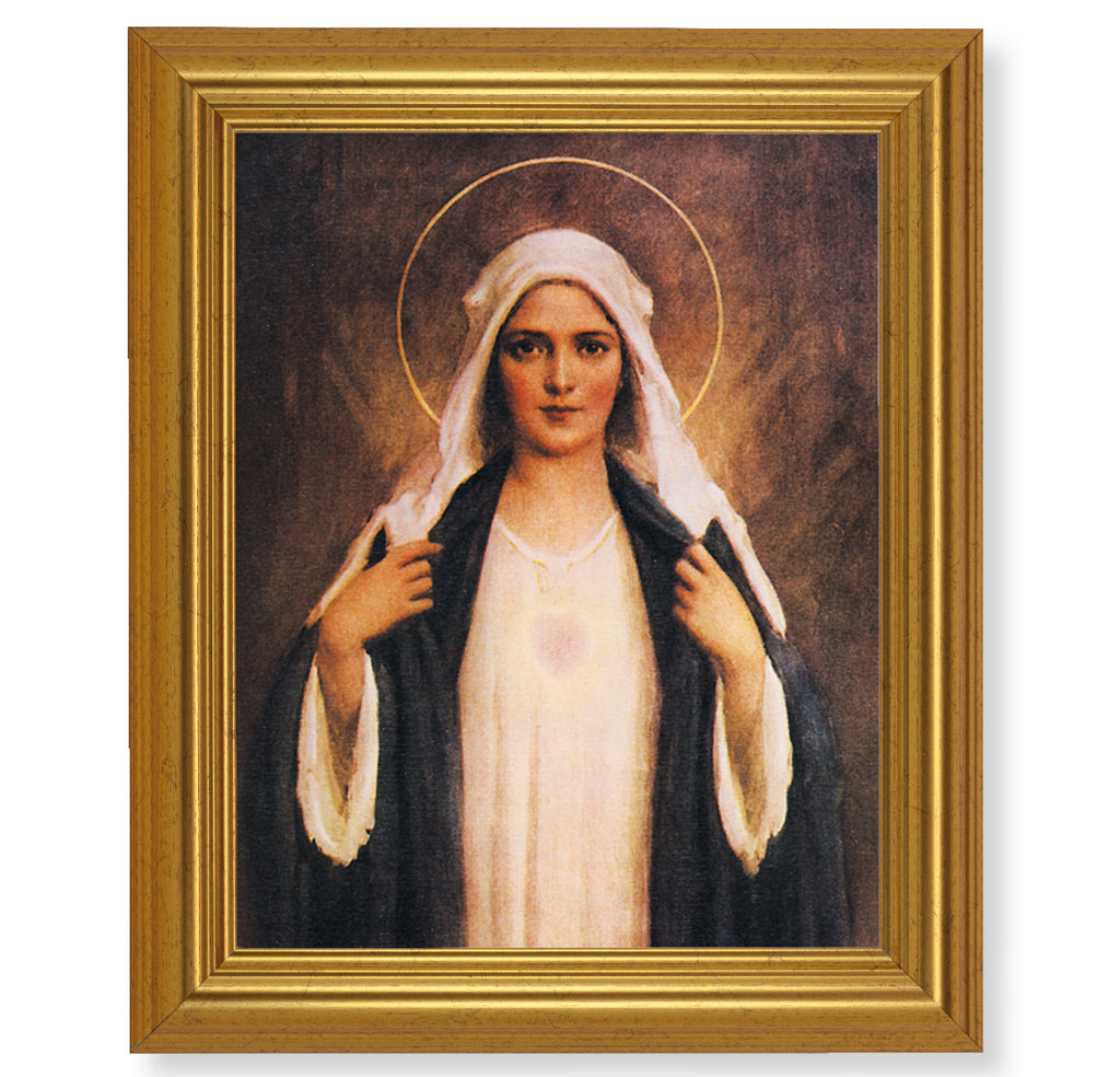 Vintage Style Immaculate Heart Of Mary Print In Beveled Gold Frame