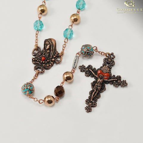 Our Lady of Fatima Rosary with Hematite Beads by Ghirelli