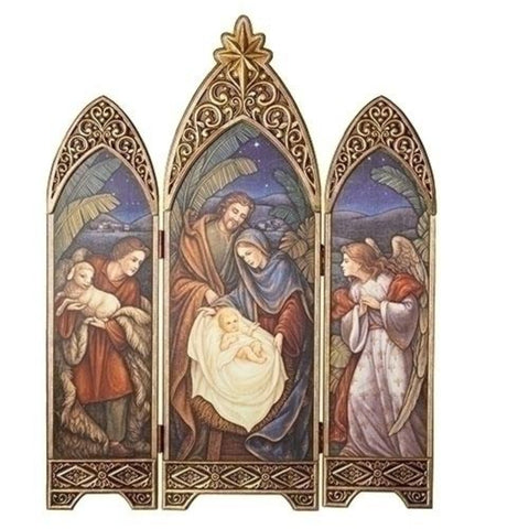 Ornate Nativity Scene Triptych With Antiqued Gold Star  Extra Large 36 Inch Tall Christmas Decor