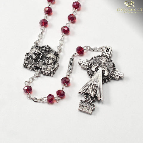 Saint Faustina Divine Mercy Rosary with Faceted Bohemian Glass Beads by Ghirelli