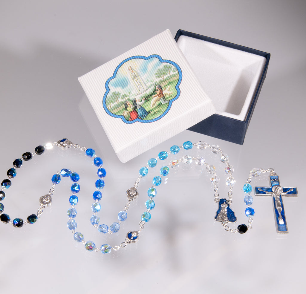 Our Lady of Fatima Glass Rosary With Box