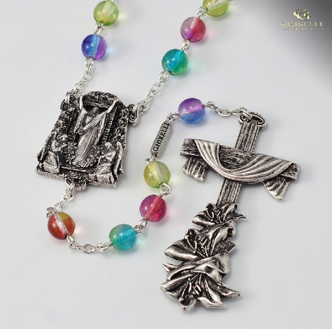 Holy Easter Multi Color Bead Rosary By Ghirelli