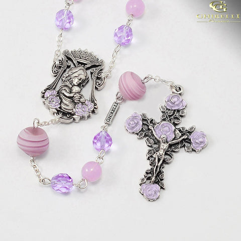 Madonna and Child Rosaries for Women with Genuine Murano by Ghirelli